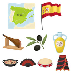 A set of pictures about Spain. Sights of Spain, gypsies, guitar, dances.Spain country icon in set collection on cartoon style vector symbol stock illustration.