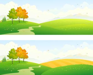 Autumn fields panoramic