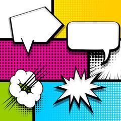 Pop art comics book magazine cover template. Cartoon funny vintage strip comic superhero text, speech bubble, balloon, box message, burst bomb. Vector halftone illustration. Blank humor graphic.