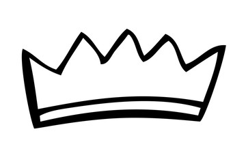 Hand Draw Sketch of Crown, Isolated on White