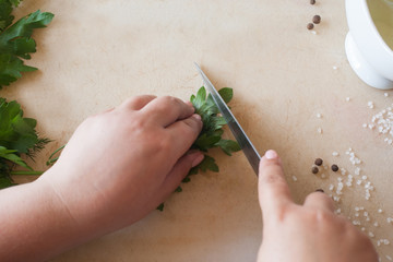 Cook woman cutting green parsley on wooden desk. Cooking process, healthy organic food and decoration, POV photo