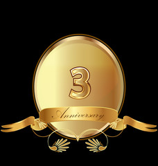 3rd golden anniversary birthday seal icon vector