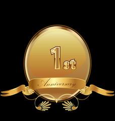 1st golden anniversary birthday seal icon vector