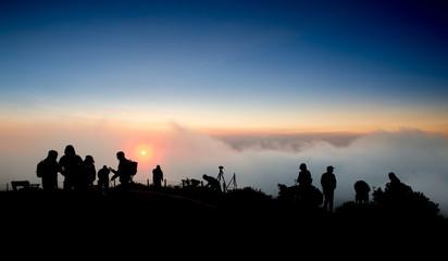 Breake of Dawn. Photographers Waiting for the Sunrise above Golden Gate Bridge, San Francisco, California