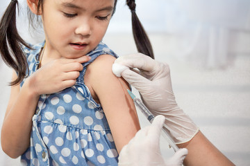 Doctor injecting vaccination in arm of asian little child girl,healthy and medical concept