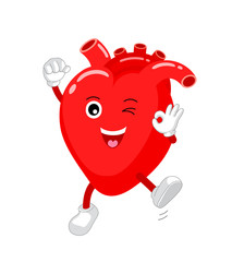Cute and funny, smiling red heart character. Human internal organ mascot showing okay hand sign. Health-care concept, vector illustration isolated on white background.