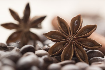 coffee beans and star anise on coarse fabric