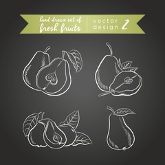 Pear. Vector hand drawn collection of sketch fresh fruits illustration on blackboard. Isolated.