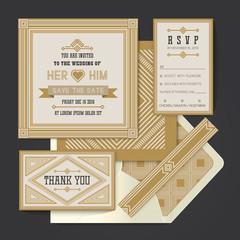 Vintage retro vector Wedding invitation card template