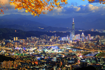 beautiful view of Taipei city druning nice time, Taiwan