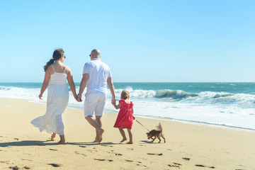 Young family with girl in red dress and dog on the beach