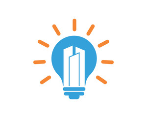 lamp bulb light building residence architecture image icon vector