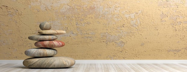 Zen stones stack in a room. 3d illustration Fototapete