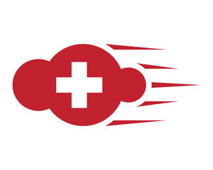 red cloud healthcare medical pharmacy icon image vector