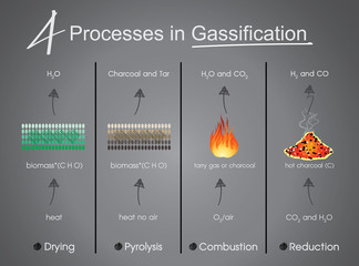 processes in Gasification Drying, Pyrolysis, Combustion, Reduction. Info graphic vector..
