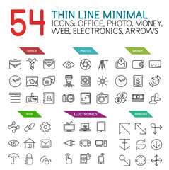 Set of linear web icons and buttons - office, photo, money, web, electronics and arrow concepts