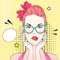 Pop art surprised woman with pink hair and cat's eye blue glasses think about something. Comic woman with speech bubble. Vector illustration.