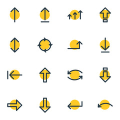 Vector Illustration Of 16 Direction Icons. Editable Pack Of Exchange, Undo, Submit And Other Elements.