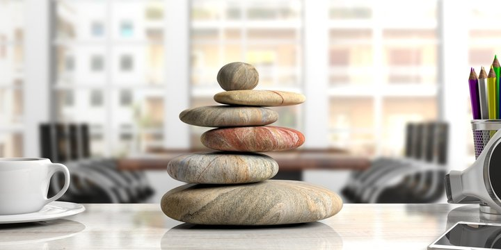 Zen stones stack on a desk, office background. 3d illustration