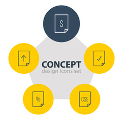 Vector Illustration Of 5 Document Icons. Editable Pack Of Download, Done, Percent And Other Elements.