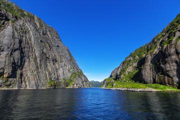 Trollfjord (Trollfjorden) in the Lofoten Islands, Norway.