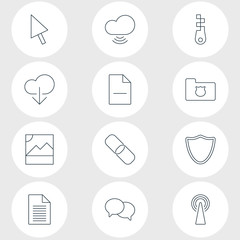 Vector Illustration Of 12 Network Icons. Editable Pack Of Removing File, Router, Sheet And Other Elements.