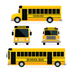 School Bus Front and Side View, Yellow colour with two type