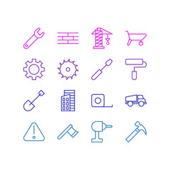 Vector Illustration Of 16 Construction Icons. Editable Pack Of Spanner, Lorry, Lifting And Other Elements.