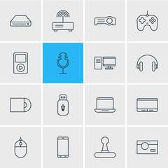 Vector Illustration Of 16 Device Icons. Editable Pack Of Cursor Controller, Media Controller, Modem And Other Elements.