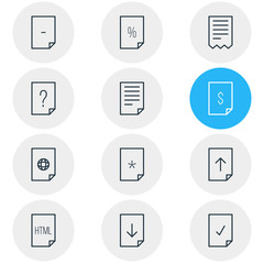 Vector Illustration Of 12 Page Icons. Editable Pack Of Percent, Download, Basic And Other Elements.