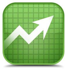 Business graph icon special soft green square button