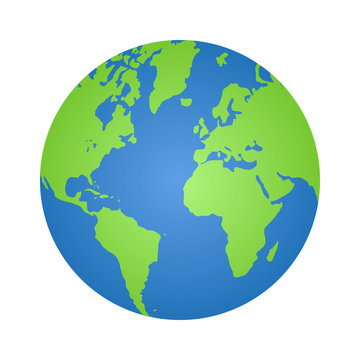 Planet earth or world globe with oceans and water gradient vector color icon for apps and websites