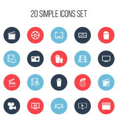 Set Of 20 Editable Filming Icons. Includes Symbols Such As Clapper, Reel, Cinematography And More. Can Be Used For Web, Mobile, UI And Infographic Design.