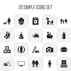 Set Of 20 Editable Relatives Icons. Includes Symbols Such As Sweeper, Fir, Car And More. Can Be Used For Web, Mobile, UI And Infographic Design.