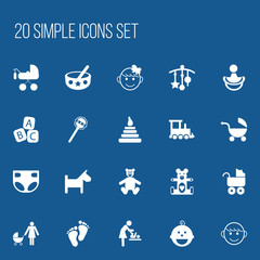 Set Of 20 Editable Child Icons. Includes Symbols Such As Nappy, Nipple, Adorn And More. Can Be Used For Web, Mobile, UI And Infographic Design.