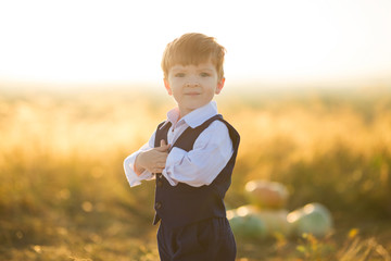 Portrait of a cute little boy in the suit on sunset background