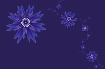 Abstract fractal flowers on a blue background