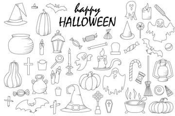 Set of hallowen elements. Vector goast, pumpkin, hat icons. Spooky illustration.
