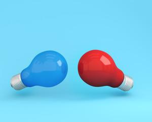 Different idea of light bulbs red and light bulbs blue on  light blue background, Minimal concept idea.