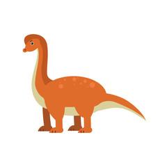 Cute cartoon brachiosaurus dinosaur, prehistoric and jurassic monster vector Illustration
