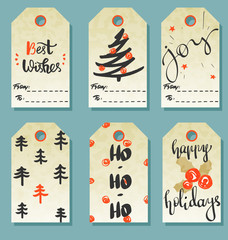 Winter set of Merry Christmas and New Year gift tags or cards