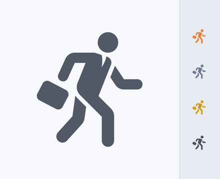 Running Businessman - Carbon Icons. A professional, pixel-aligned icon designed on a 32x32 pixel grid and redesigned on a 16x16 pixel grid for very small sizes.