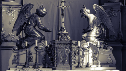 Sculpture on Altar, Shallow Depth of Field Black and White Split Toning, Religious Photography