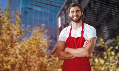 Composite image of portrait of smiling confident male owner with