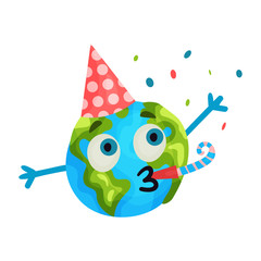 Cute cartoon funny Earth planet emoji wearing party hat blowing a noisemaker, humanized globe character with emotions colorful vector Illustration