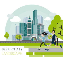 Vector illustration of modern city in cartoon style.