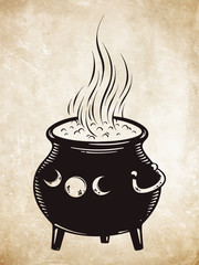Boiling magic cauldron vector illustration. Hand drawn wiccan design, astrology, alchemy, magic symbol or halloween design