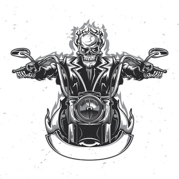 T-shirt or poster design with illustrated skeleton riding on the motorcycle.