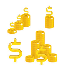 Piles gold dollars isolated cartoon set. A lot of stacks and slides of gold dollars and dollar signs for designers and illustrators. Gold bunches of pieces in the form of a vector illustration
