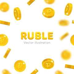 Flying gold rubles cartoon frame. Background of the flying gold of rubles in the form of a frame in a cartoon style. Cover gold pieces in the form of vector illustrations